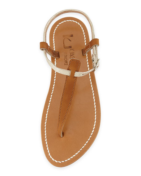 Picon Two-Tone Thong Sandal, Natural/Platinum