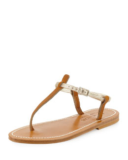 K. Jacques Picon Two-Tone Thong Sandal, Natural/Platinum