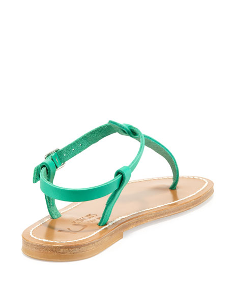 Picon Leather Thong Sandal, Mint Green