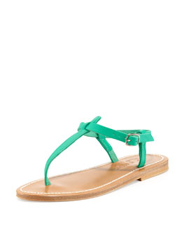 K. Jacques Picon Leather Thong Sandal, Mint Green