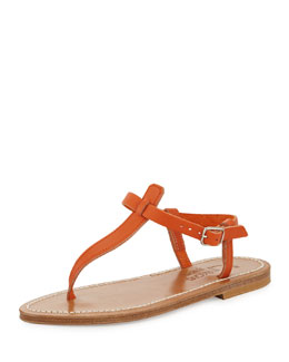 K. Jacques Picon Leather Thong Sandal, Soft Orange