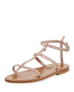 K. Jacques Gina Metallic Suede Gladiator Sandal, Rose Gold
