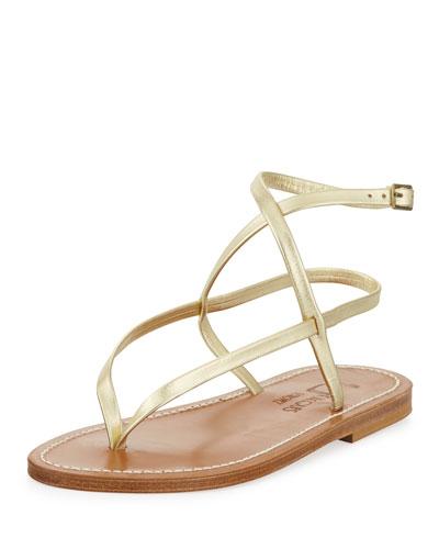Delta Crisscross Metallic Thong Sandal