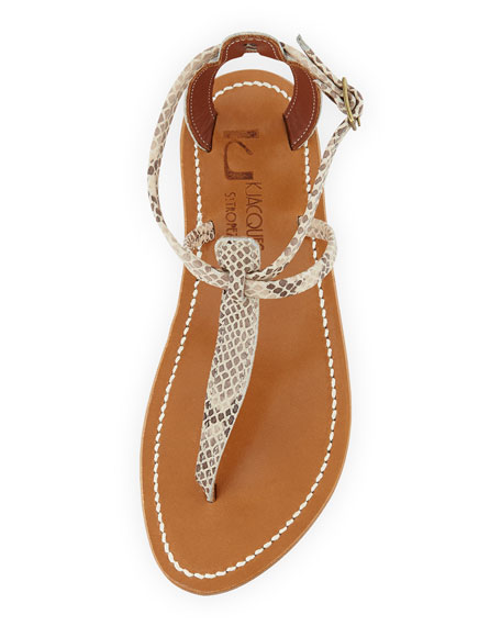 Buffon Snake-Print Thong Sandal