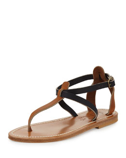 K. Jacques Buffon Two-Tone Thong Sandal, Natural/Navy