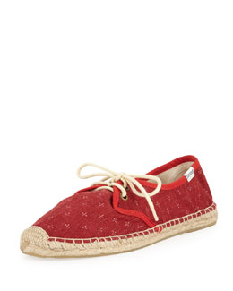 Soludos Derby Mini-Cross Lace-Up Espadrille Canvas Flat, Red