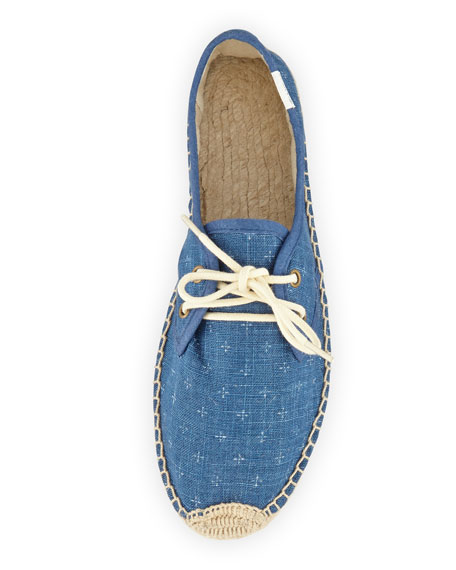 Cross-Print Derby Lace-Up Espadrille Flat, Navy