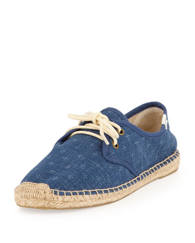 Soludos Cross-Print Derby Lace-Up Espadrille Flat, Navy