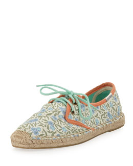 Soludos Berta Derby Lace-Up Espadrille Canvas Flat, Floral