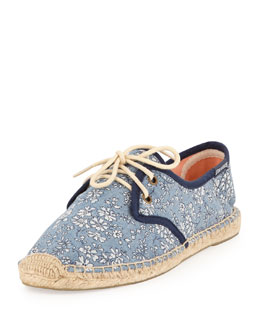 Soludos Lace-Up Floral-Print Flat Derby, Blue