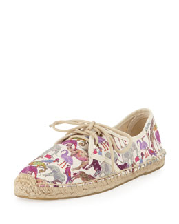 Soludos Derby Lace-Up Canvas Espadrille Flat, Zoo Party