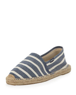 Soludos Original Striped Espadrille Canvas Flat, Navy/White