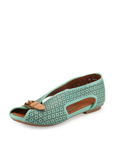 Gentle Souls Bless Word Perforated Slip-On, Mint Green