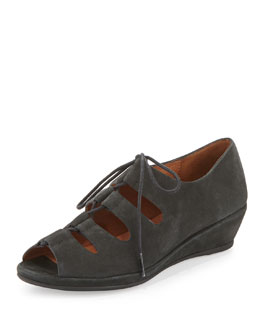 Gentle Souls Vally Lilly Lace-Up Demi-Wedge, Black