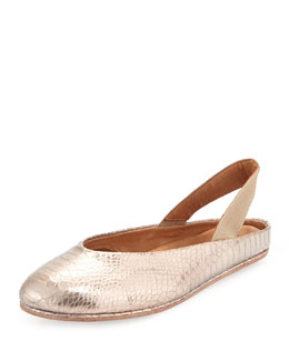 Gentle Souls Gretchen Snake-Print Stretch Slip-On, Pink