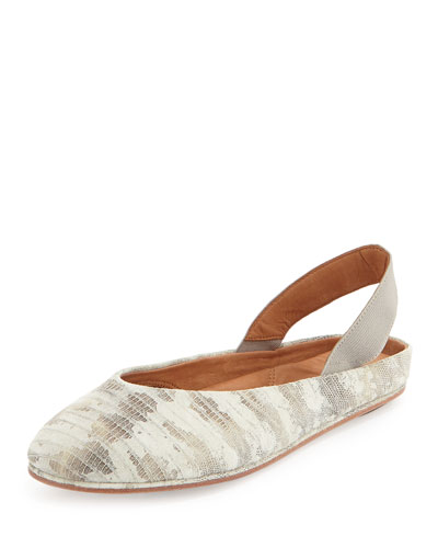 Gentle Souls Gretchen Snake-Print Stretch Slip-On, Off White