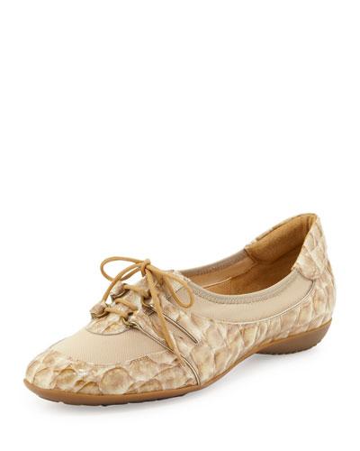 Bonnie Printed Patent Stretch Sneaker, Beige