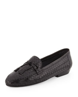 Sesto Meucci Nancy Woven Leather Tassel Loafer, Black