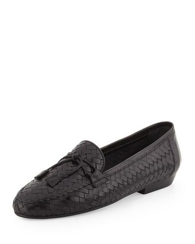 Sesto Meucci Nancy Woven Leather Tassel Loafer, Black