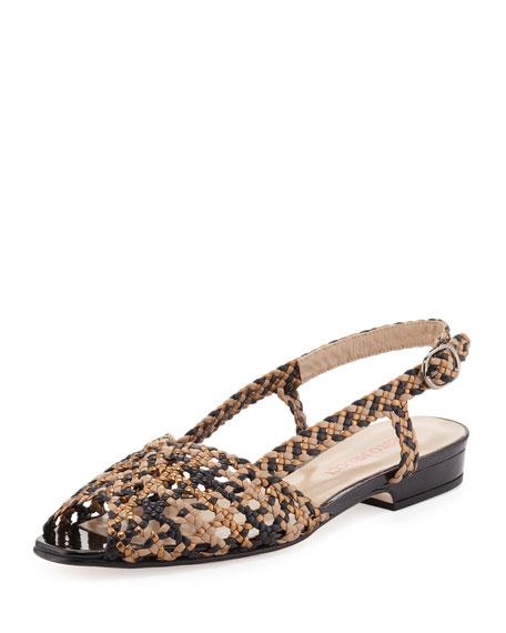 Stella Woven Peep-Toe Slingback, Bronze  Multi
