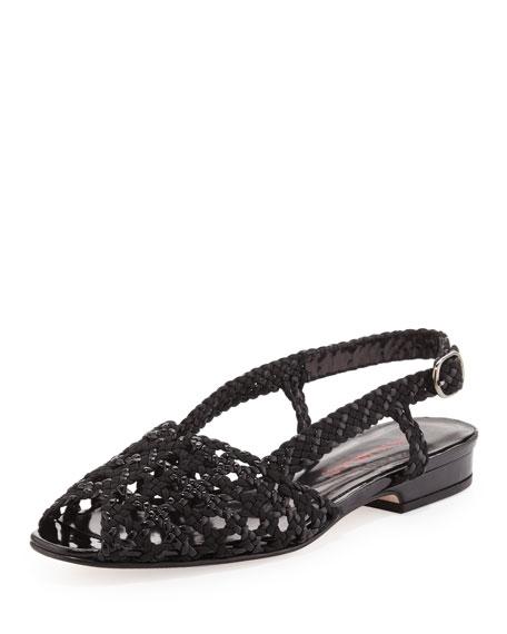 Stella Woven Peep-Toe Slingback, Black