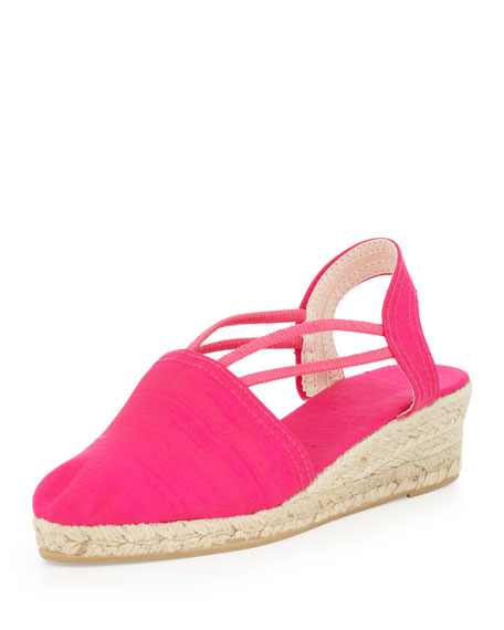 Juan Fabric Espadrille Wedge, Fuchsia