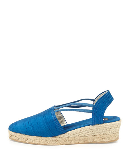 Juan Canvas Espadrille Wedge, French Blue