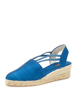 Sesto Meucci Juan Canvas Espadrille Wedge, French Blue