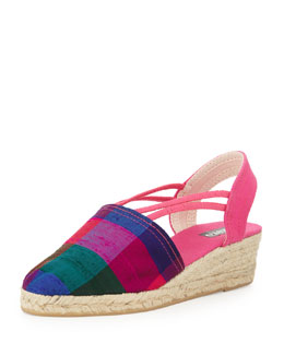 Sesto Meucci Juan Fabric Espadrille Wedge, Plaid