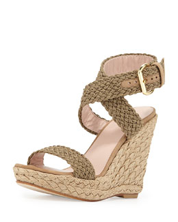 Stuart Weitzman Alex Crochet Ankle-Wrap Wedge, Swamp