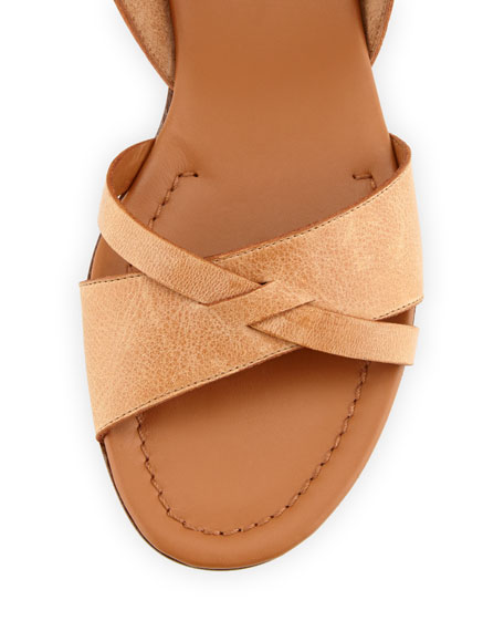 Strappy Flat Leather Sandal, Cuoio