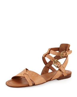 Henry Beguelin Strappy Flat Leather Sandal, Cuoio