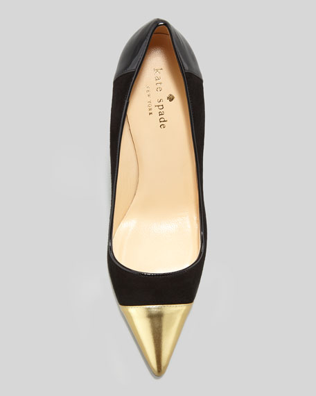 liberty cap-toe suede pump, black/gold