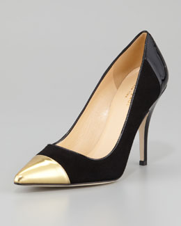 kate spade new york liberty cap-toe suede pump, black/gold