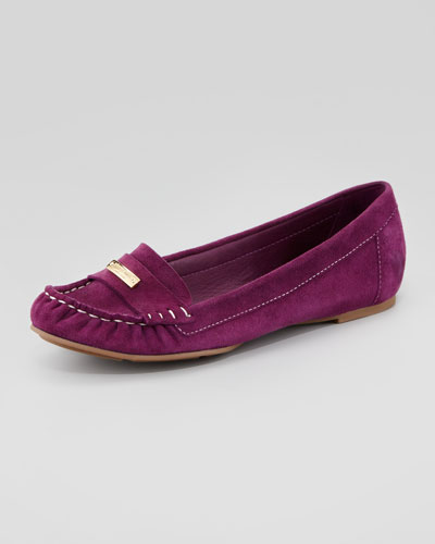Kate Spade suede moccasin driver, amethyst