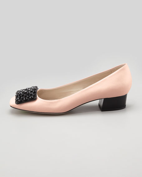 mixer crystal-buckle low-heel pump, rose/black