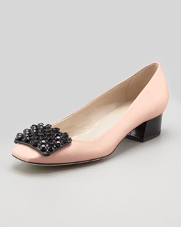 Kate Spade mixer crystal-buckle low-heel pump, rose/black