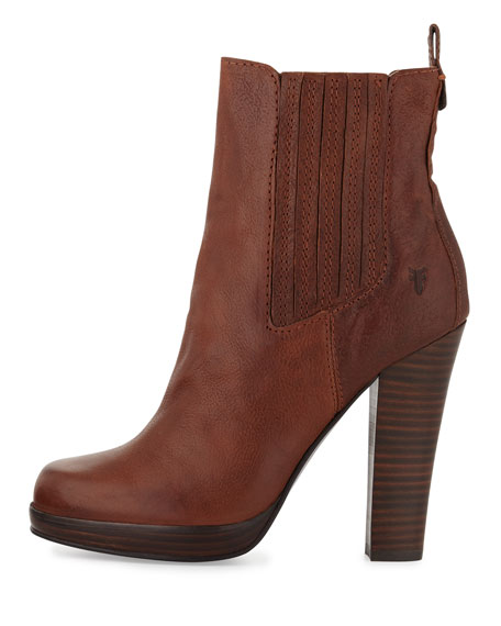 Donna Stacked-Heel Chelsea Boot, Copper