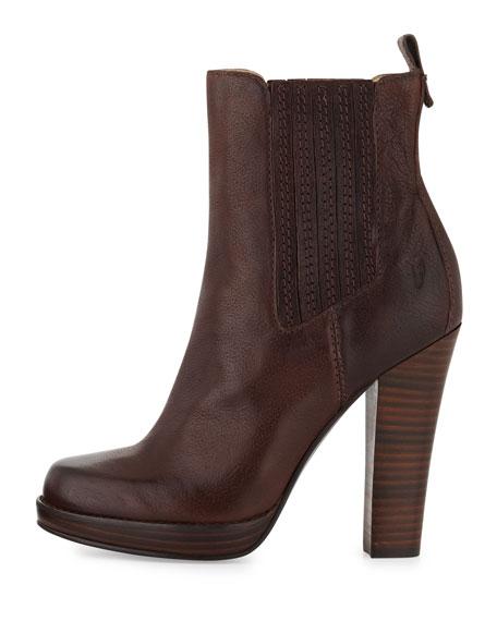 Donna Stacked-Heel Chelsea Boot, Dark Brown