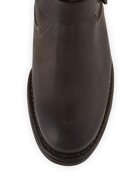 Martina Tall Buckled Engineer Boot, Gray