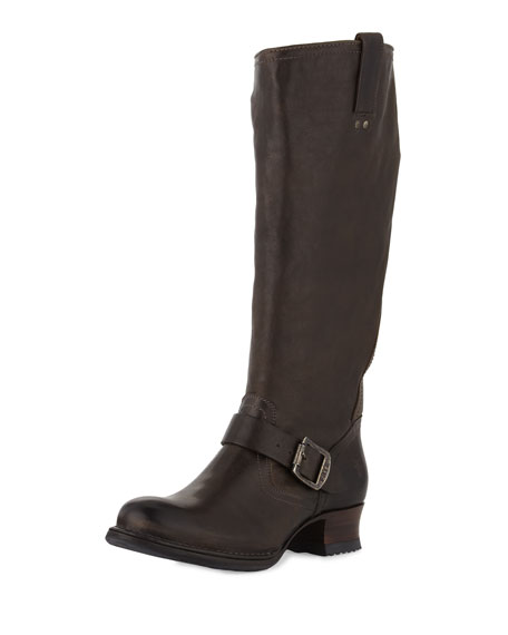 Martina Tall Buckled Engineer Boot, Gray