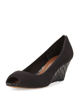 Donald J Pliner Molly Stretch Crepe Wedge Pump, Black/Pewter