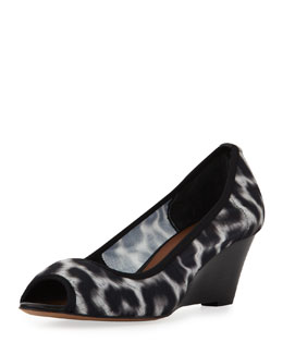 Donald J Pliner Molly Animal-Print Stretch Wedge, White/Black