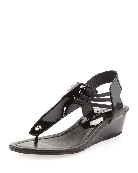 Dove Stretchy Patent Demi-Wedge, Black