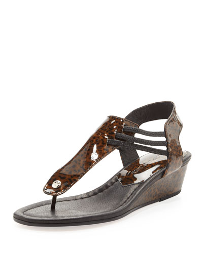 Donald J Pliner Dove Stretchy Leopard-Print Demi-Wedge