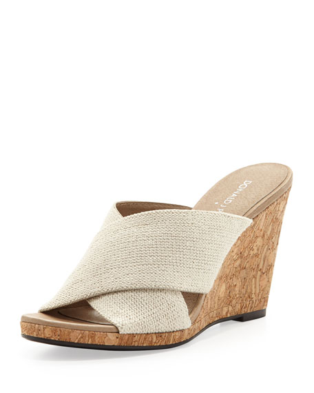 Hedi Linen Stretch Slide Wedge, Natural