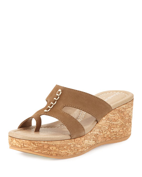 Donald J Pliner Shelee Nubuck Wedge Sandal, Taupe