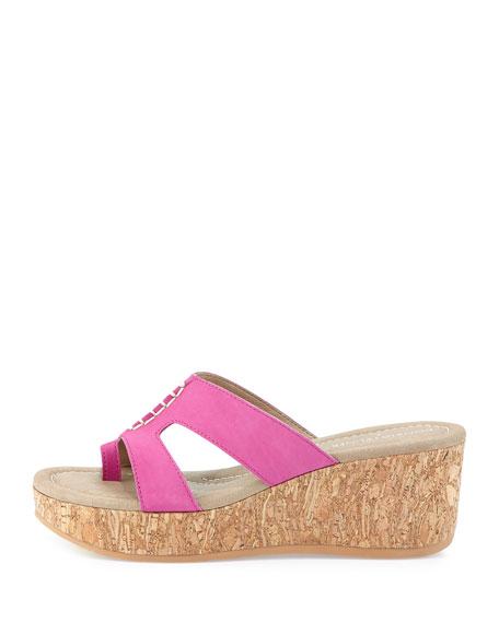 Shelee Nubuck Wedge Sandal, Fuchsia