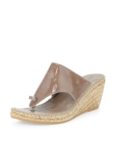 Andre Assous Alyssa Patent Demi-Wedge Espadrille Slide, Taupe