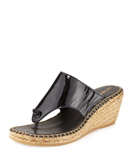 Annette Demi-Wedge Espadrille Slide, Black